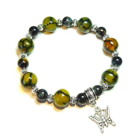 Yellow Dragon Vein Agate, Black Tiger's Eye Gemstone Stretch Bracelet 20.5cm