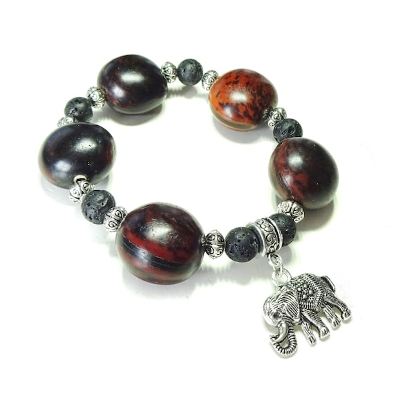 Brown Seed Pod & Black Lava Stretch Bracelet