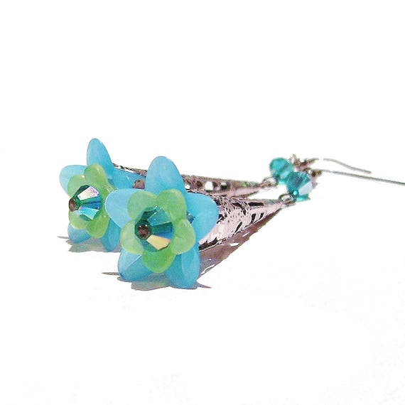 Teal Blue & Green Long Filigree Gunmetal Lucite Lily Flower Earrings