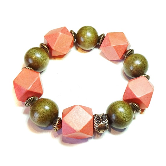 Orange Brown Wood Bead & Copper Chunky Stretch Charm Bracelet 21cm