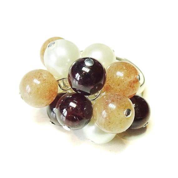 Red Garnet, Sunstone & Ivory Pearl Cha Cha Ring - Adjustable