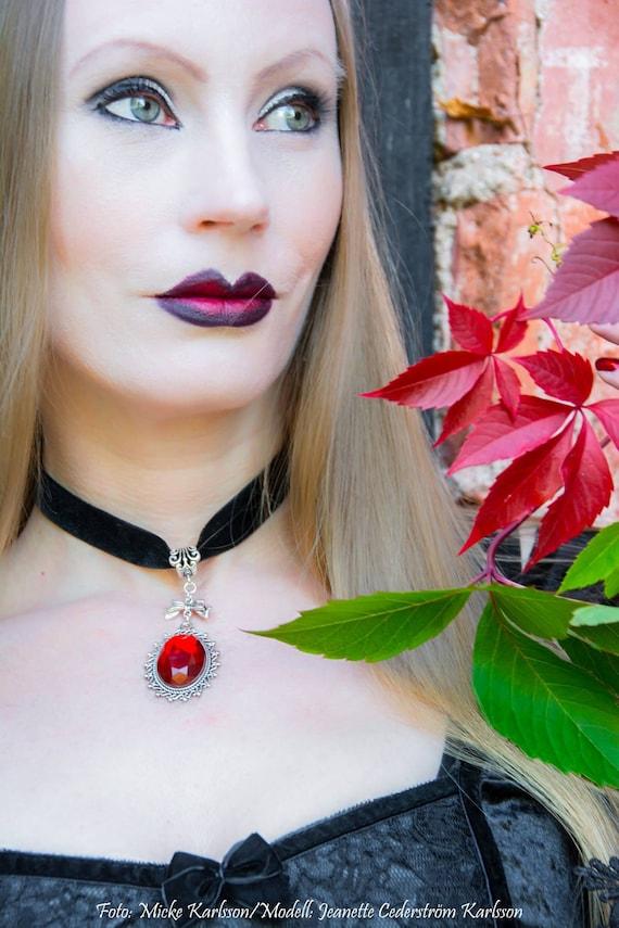 Red Sirenia Black Velvet Gothic Pentagram Choker Necklace