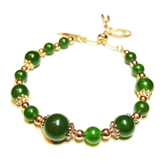 Taiwan Jade & Rose Gold Plated Gemstone Slider Chain Bracelet
