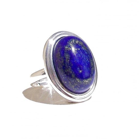 Blue Lapis Lazuli Gemstone Ribbed Edge Ring
