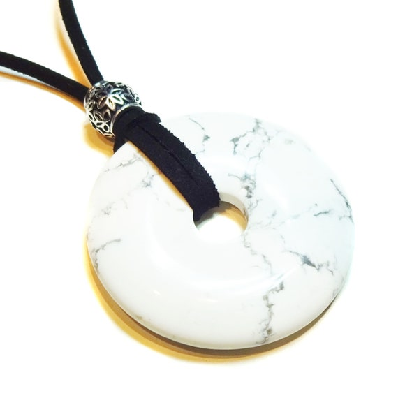 White Howlite Large Round Gemstone Donut Pendant -  50mm