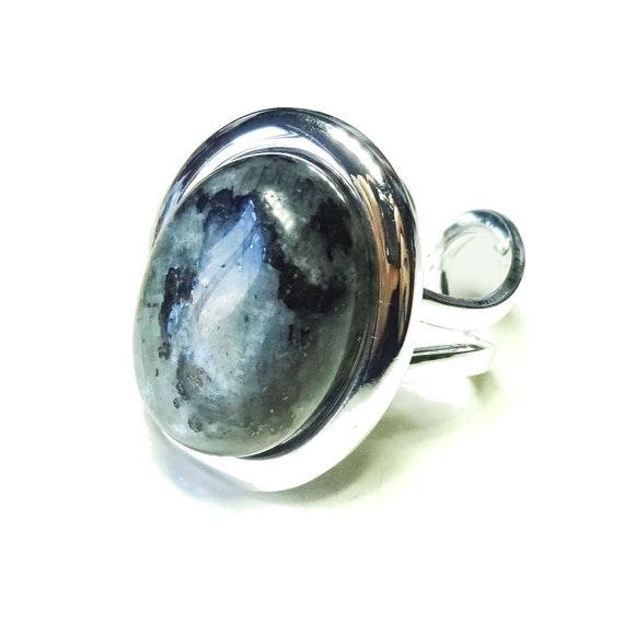 Grey Larvikite Classic Semi-precious Gemstone Adjustable Ring 23 x 17mm