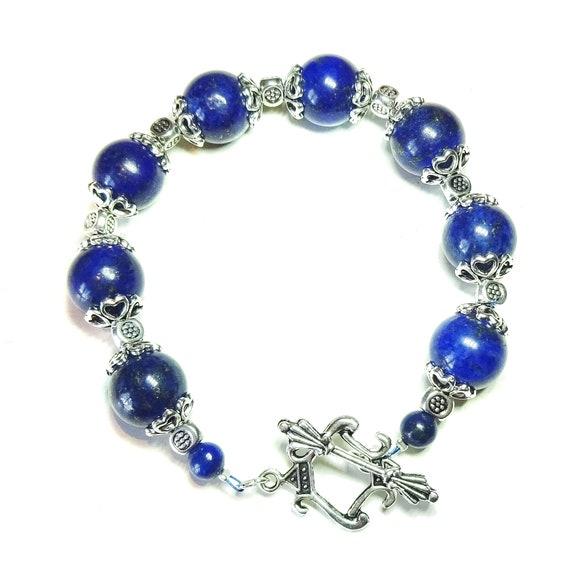 Blue Lapis Lazuli Semi-precious Gemstone Bracelet 21cm