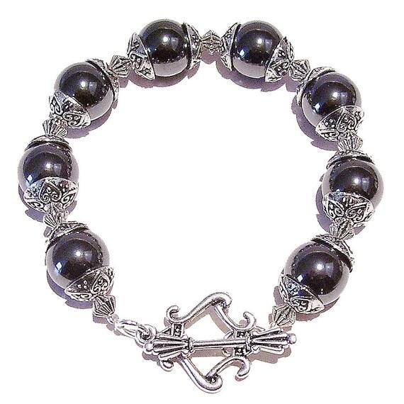 Grey Hematite Gemstone Bracelet 20cm