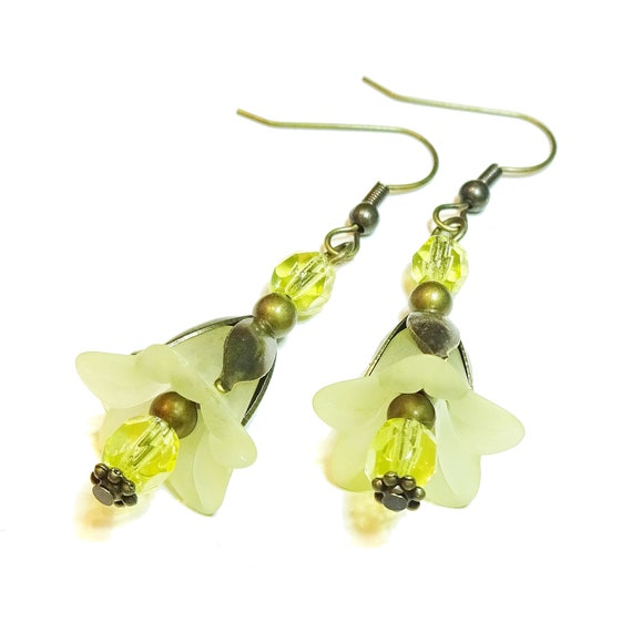 Pale Yellow Vintage Style Brass & Lucite Flower Earrings