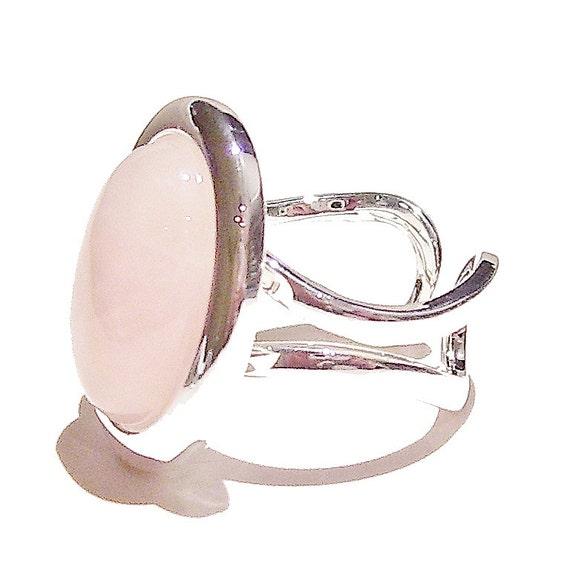 Pink Rose Quartz Classic Semi-precious Gemstone Adjustable Ring 23 x 17mm