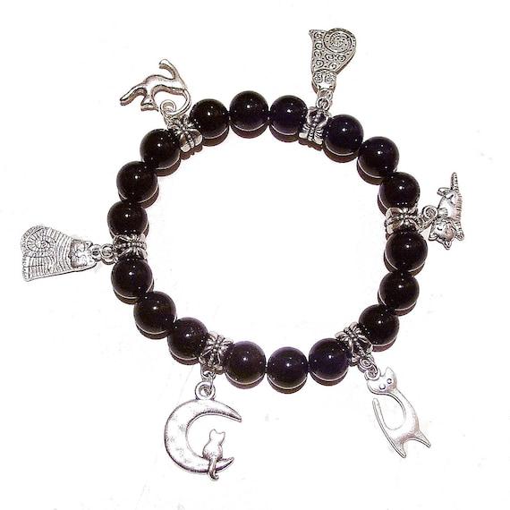Black Onyx Stretch Bracelet w Cat Charms - 20.5cm