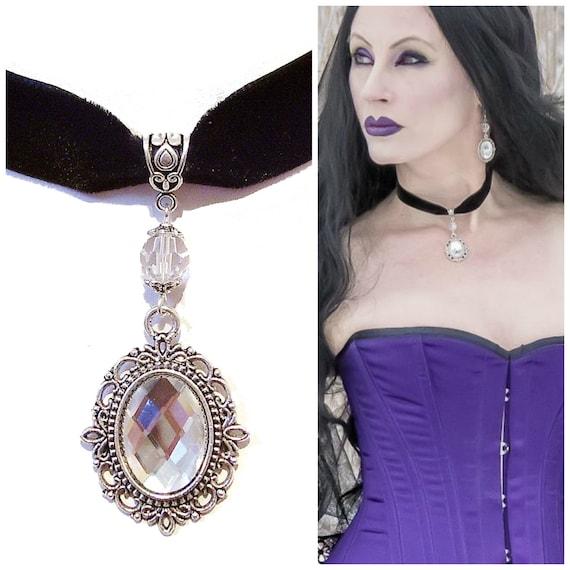 Julia Black Velvet Gothic Choker Necklace w Swarovski Crystal - Clear