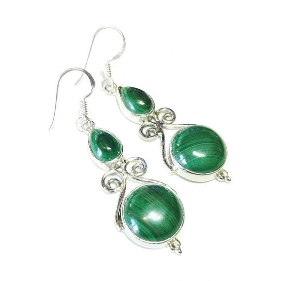 Green Malachite & Sterling Silver Gemstone Filigree Earrings