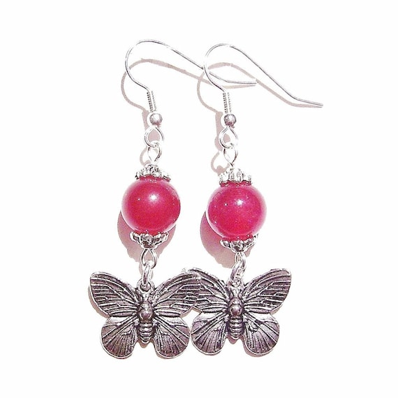 Red Jade Gemstone Butterfly Drop Earrings