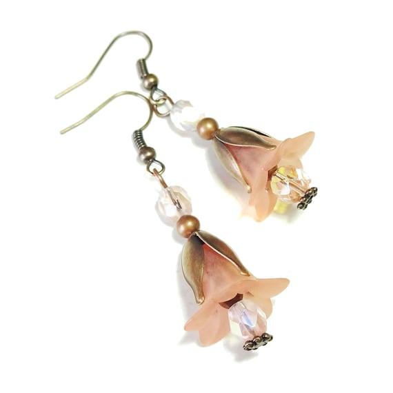 Peach & Copper Vintage Style Lucite Flower Earrings