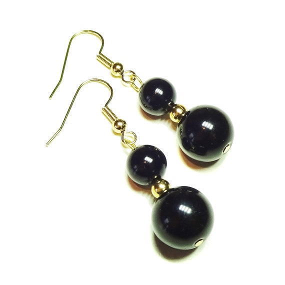 Black Onyx Semi-precious Gemstone Gold Plated Drop Earrings
