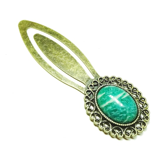 Green Russian Amazonite Semi-precious Gemstone Brass Clip Bookmark