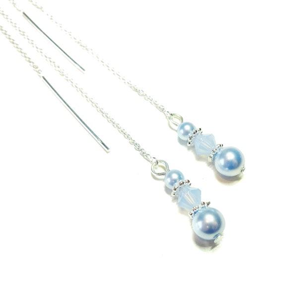 Sky Blue Swarovski Pearl & Sterling Silver Long Drop Chain Ear Threads - 172mm