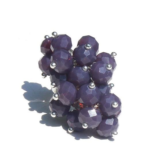Purple Crystal Cha Cha Cluster Ring - Adjustable