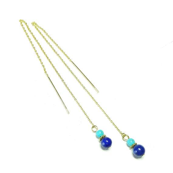 Blue Lapis Lazuli & Turquoise Gemstone Gold Vermeil Pull Through Earrings 170mm