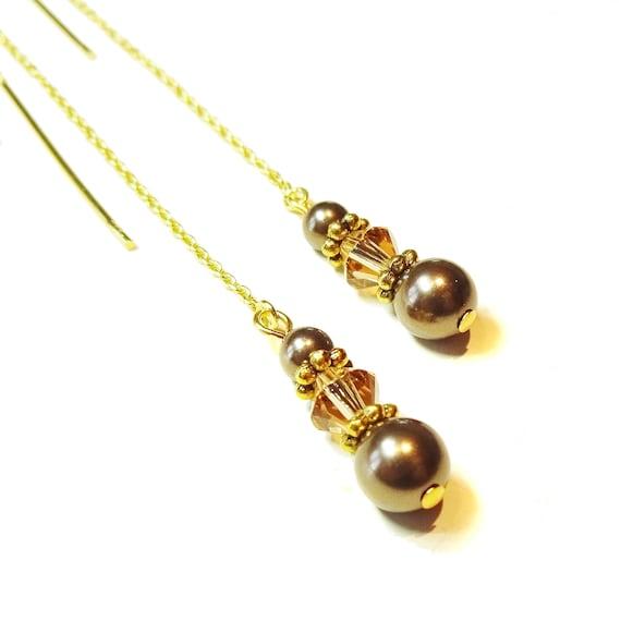 Chocolate Brown Swarovski Pearl Gold Vermeil Long Drop Chain Ear Threads - 174mm