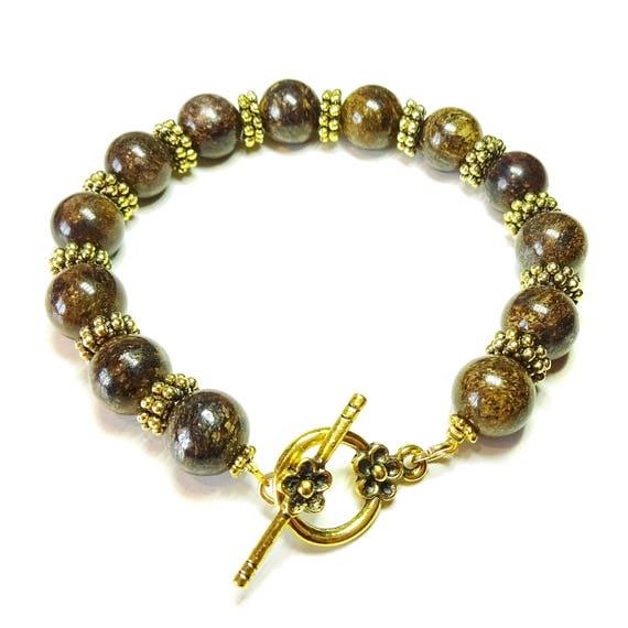 Brown Bronzite Gemstone & Antique Gold-Tone Bracelet 20.5cm