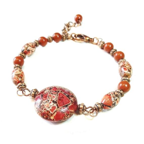 Magnestite, Red Jasper & Copper Gemstone Wire Bangle