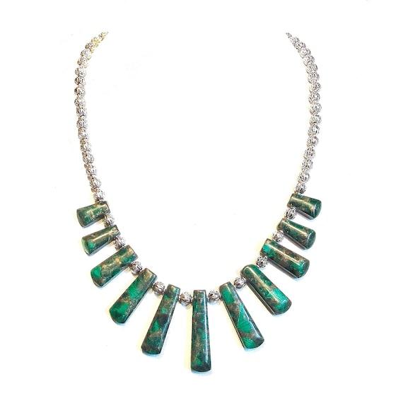 Graduated Green Jasper & Pyrite Gemstone Fan Necklace