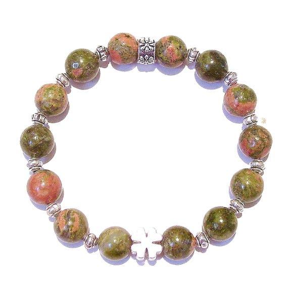 Green & Pink Unakite Gemstone Stretch Bracelet Approx. 20.5cm