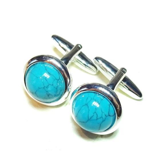 Blue Turquoise Round Gemstone Cufflinks - Angled