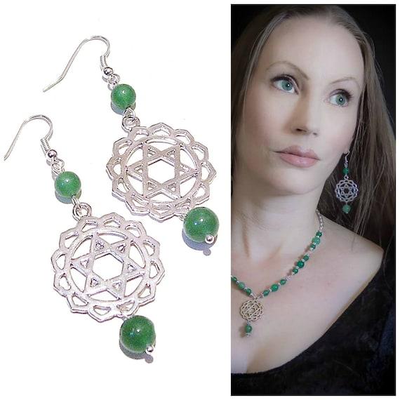 Semi-precious Gemstone Heart / Anahata Chakra Earrings - Green Aventurine