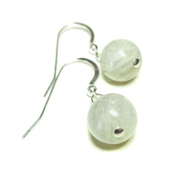 Grey Labradorite Gemstone Sterling Silver Ball Drop Earrings - 9mm
