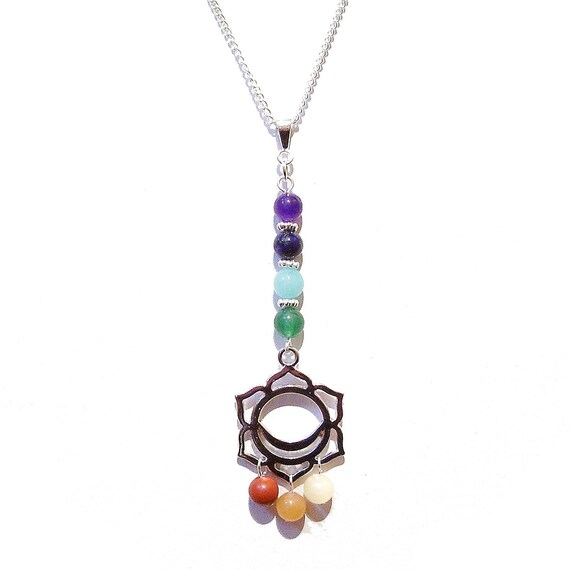Semi-precious Gemstone Chakra Pendant w Svadhisthana Charm