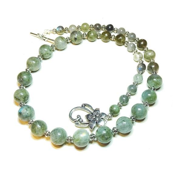 Grey Labradorite Semi-Precious Gemstone Graduated Necklace - 21.5 inches