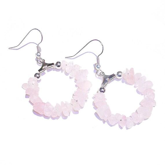 Pink Rose Quartz Gemstone Chip Hoop Earrings 25mm