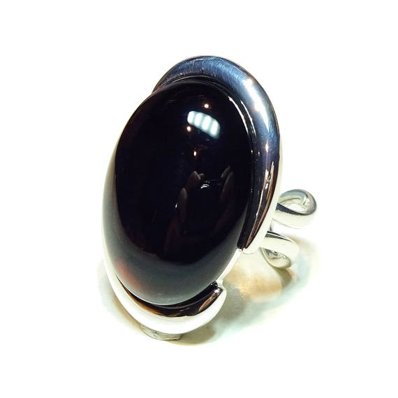 Black Onyx Large Cut Out Gemstone Ring - Adjustable