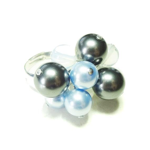 Grey, Blue Swarovski Pearl & Opalite Cha Cha Ring - Adjustable
