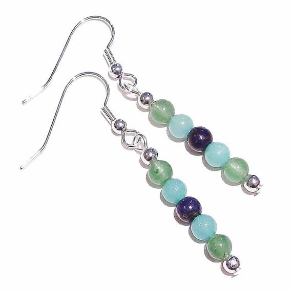 Gemstone Drop Earrings w/ Green Aventurine, Aqua Jade & Lapis Lazuli