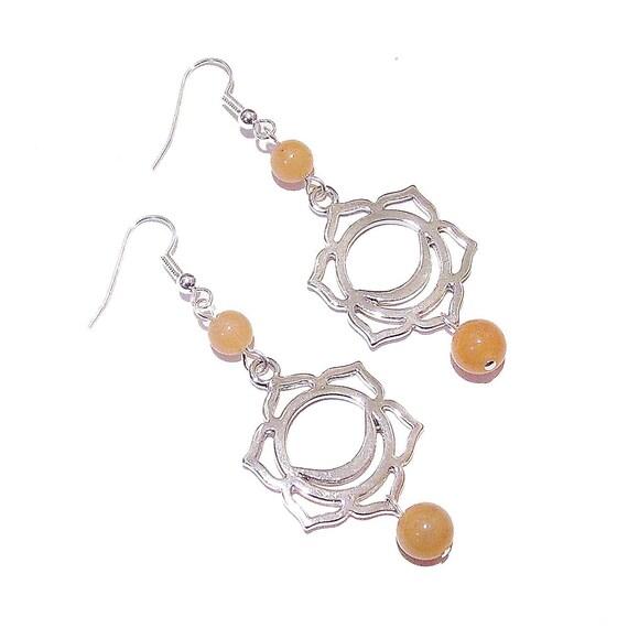Orange Aventurine Semi-precious Gemstone Sacral / Svadhisthana Chakra Earrings