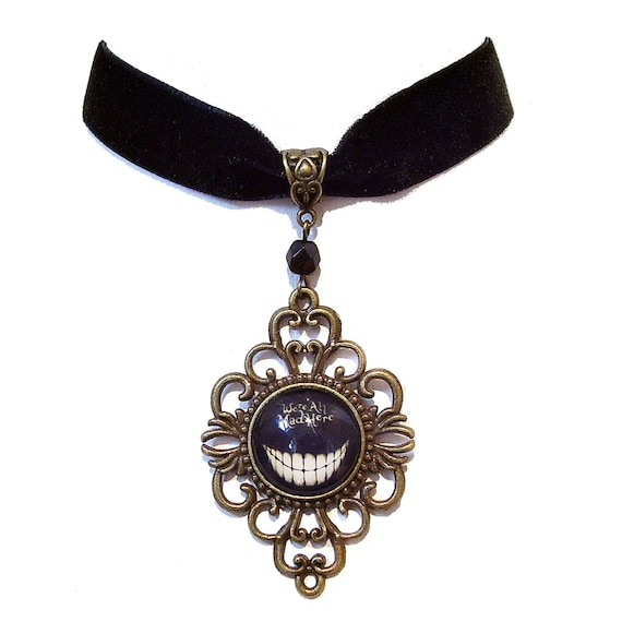 We're All Mad Here' Cheshire Cat Black Velvet & Brass Choker Necklace