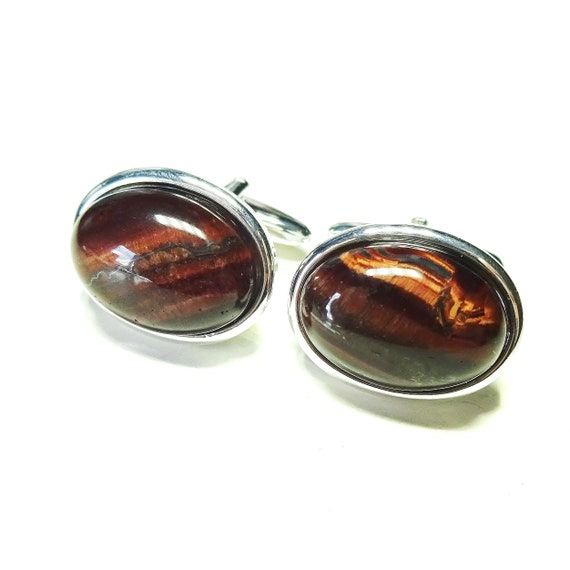 Red Tiger's Eye Semi-precious Gemstone Cufflinks - Angled