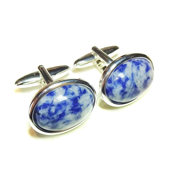 Blue & White Spots Jasper Semi-precious Gemstone Cabochon Cufflinks - Angled