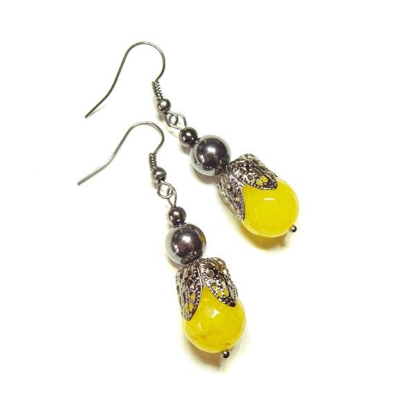 Yellow Jade Gemstone Gunmetal Black Filigree Earrings