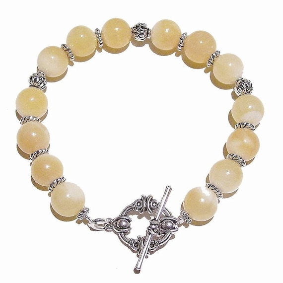Yellow Honey Jade Gemstone Bracelet 21cm