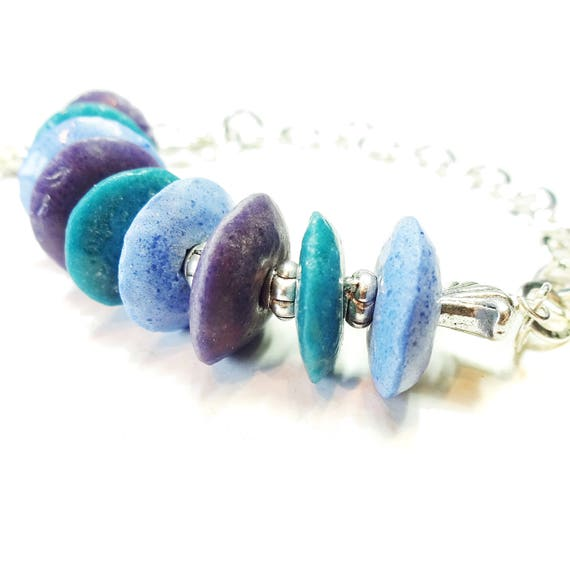 Purple, Teal, Blue Recycled African Glass Bead Bracelet