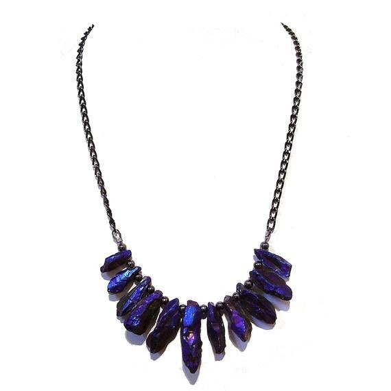 Purpley Blue Metallic Gemstone Nugget Fan Necklace