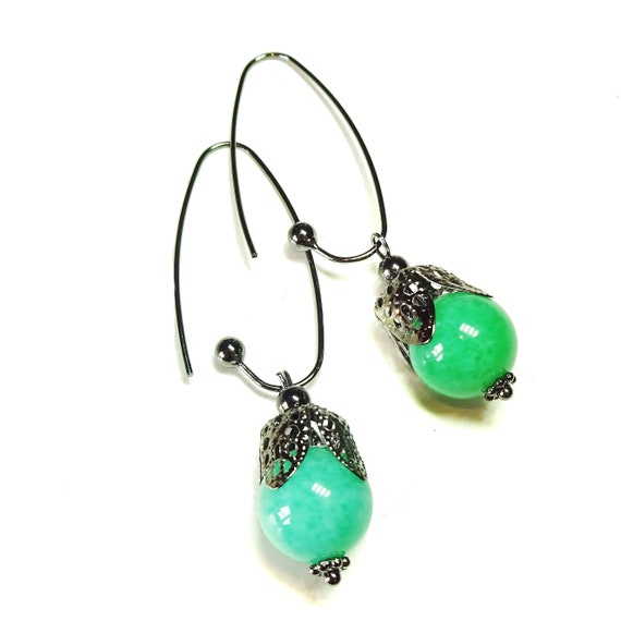 Green Jade Gemstone Gunmetal Black Filigree Drop Earrings