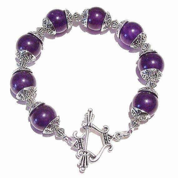 Purple Quartz Gemstone & Tibetan Silver-tone Bracelet 20.5cm