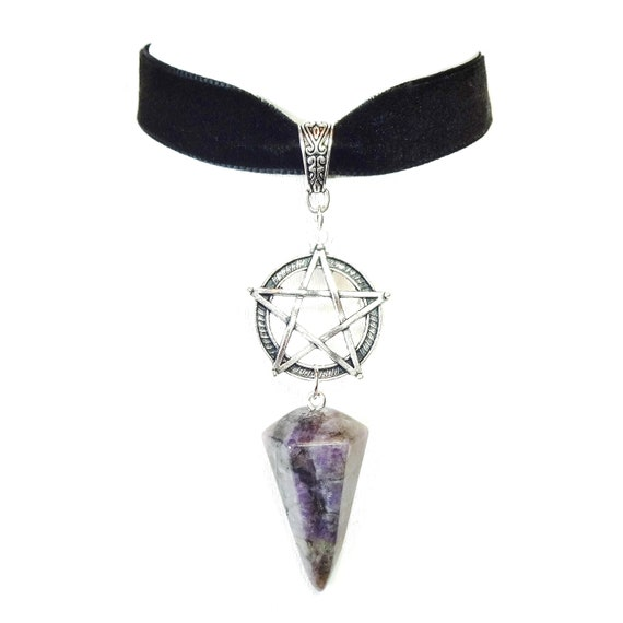 Black Velvet Pentagram Choker Necklace w Purple Amethyst