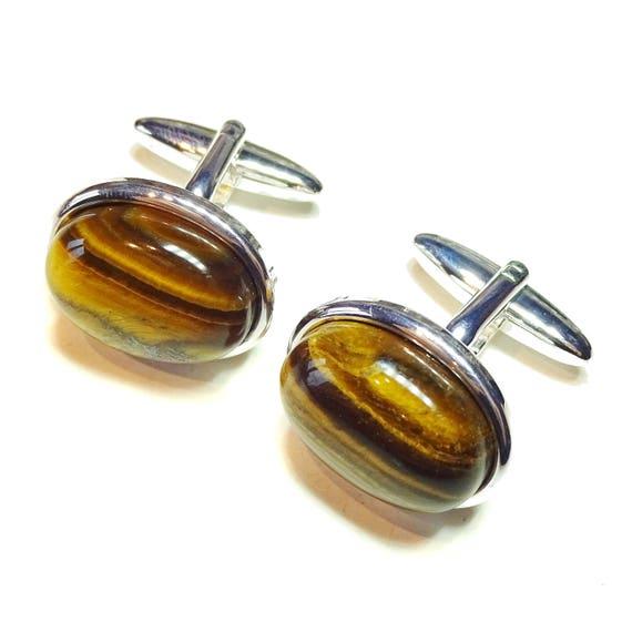 Brown Tiger's Eye Semi-precious Gemstone Cufflinks - Silver or Gold Plated